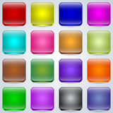 Glass buttons vector set Royalty Free Stock Images