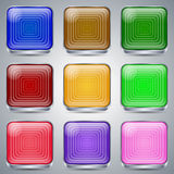 Glass buttons vector set Stock Photos