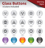Glass Buttons - Warning Signs. Glass Buttons for Web Usage, Warning Signs, 5 Color Variations Included Stock Photography