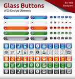 Glass Buttons - WEB Design Elements. 5 Color Variations Stock Images
