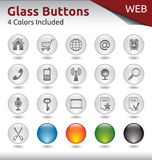 Glass Buttons WEB. Glass Buttons for Web Usage, 4 Color Variations Included Royalty Free Stock Images