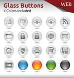 Glass Buttons WEB. Glass Buttons for Web Usage, 4 Color Variations Included Stock Photo