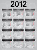 Glass calendar icons for 2012 year. Vector illustration royalty free illustration