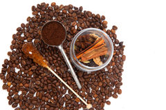 Glass can of seasonings with coffee beans Stock Photo