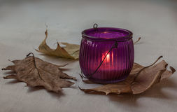 Glass candle holder with burning candle Royalty Free Stock Photography