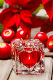 Glass candle holder with heart shape Stock Image