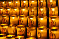 Glass candle of Notre Dame Cathedral Royalty Free Stock Photos