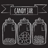 Glass candy jar Stock Photos