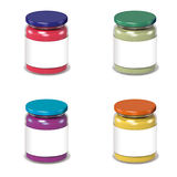 glass cans with blank label Royalty Free Stock Image