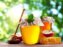 Glass cans full of honey, apple and combs on wood. Stock Photo