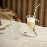 Glass of cappuccino Stock Photos