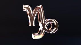 Glass Capricorn Zodiac sign, 3D rendering. Glass Zodiac sign, part of the set. 3D royalty free illustration