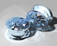 Glass car rim. Close-up glass car rim over the white background Royalty Free Stock Photo