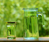 A Glass and а Carafe Full of Water on the Background of Foliage Stock Photos