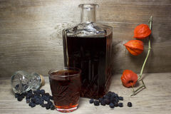 Glass and carafe with red alcoholic beverage Royalty Free Stock Photos
