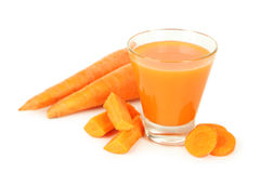 Glass of carrot juice isolated on white. stock photography