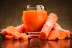 Glass of carrot juice Stock Photography
