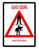 Glass Ceiling. Image of a traffic sign depicting the promotion opportunity restrictions facing women in the workplace royalty free illustration