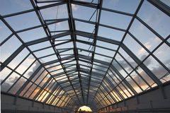 Glass ceiling. Evening sky seen through a glass ceiling Royalty Free Stock Photo