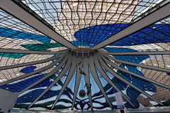 Glass Ceiling Brasilia Cathedral Brazil Royalty Free Stock Photos