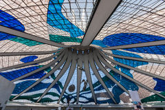Glass Ceiling Brasilia Cathedral Brazil Royalty Free Stock Photography
