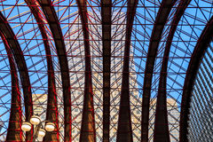 Glass Ceiling of Canary Wharf Docklands Light Railway Station Royalty Free Stock Images