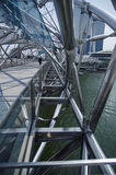 Glass ceiling footbridge with metal structures Royalty Free Stock Images