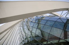 Glass ceiling footbridge with metal structures Stock Image