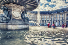 Town square in Bordeaux city  Royalty Free Stock Images