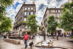 Typical street life in Bordeaux in old center Stock Images