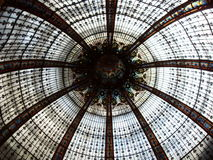 Glass ceiling. View of stained glass dome ceiling at Galeries Lafayette in Paris, France Stock Photos