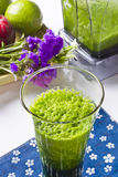 Glass of celery juice. Fresh blended celery juice in a glass Stock Photos