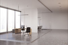 Glass CEO office. Glass office of the company head with panoramic windows, a computer desk and a white wall. 3d rendering, mock up Stock Photography