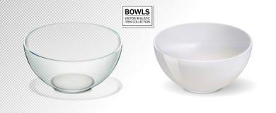 Glass and ceramic bowl set vector illustration. Realistik bowl on transparent backgraund. 3d.  royalty free illustration