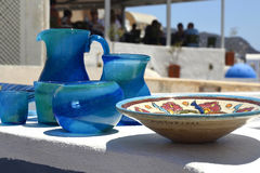 Glass and ceramic tableware. Royalty Free Stock Images