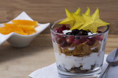Glass with cereals and fruits Stock Photo