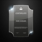 Glass certificate on abstract metal background. Vector illustration Royalty Free Stock Photo