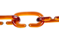 Glass chain links. On the white background stock photo