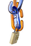 Glass chain links and combination lock. On white background Stock Image
