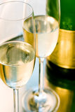 Glass of champagne. Two Glasses of luxury champagne Royalty Free Stock Images