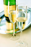 Glass of champagne. Two Glasses of luxury champagne Royalty Free Stock Photography