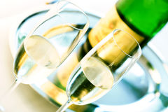 Glass of champagne. Two Glasses of luxury champagne Stock Photo
