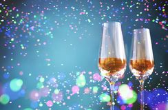 Glass of champagne with Abstract colorful blurred lights. For festive background design,3d illustration stock illustration