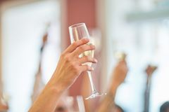 Glass of champagne on the background of friends at a party stock image