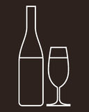 Glass of champagne and bottle Royalty Free Stock Images