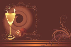 Glass with champagne and chocolate candies. Card Stock Photos