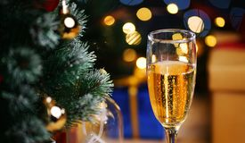 Glass Of Champagne Beside Christmas Tree. Close Up Shot.  royalty free stock image