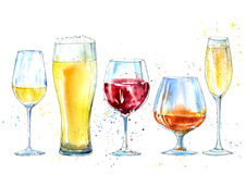 Glass of a champagne,cognac, wine, beer. Picture of a alcoholic drink.Watercolor hand drawn illustration Stock Photos