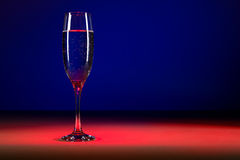 Glass of champagne on colorful background. Studio shot of Glass of bubbly.  stock image