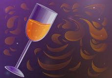 Glass of champagne concept banner, cartoon style vector illustration